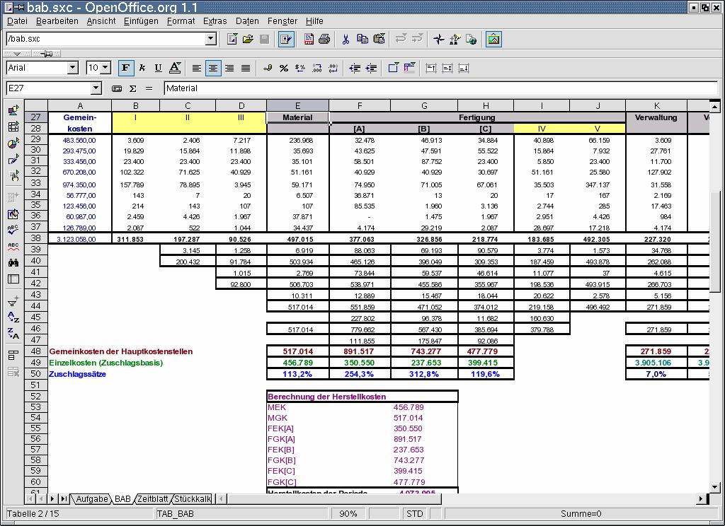 Tabellenkalkulation Openoffice