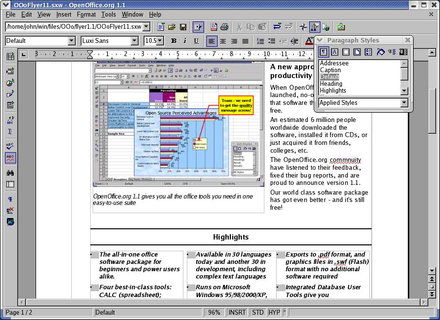 modele document open office writer