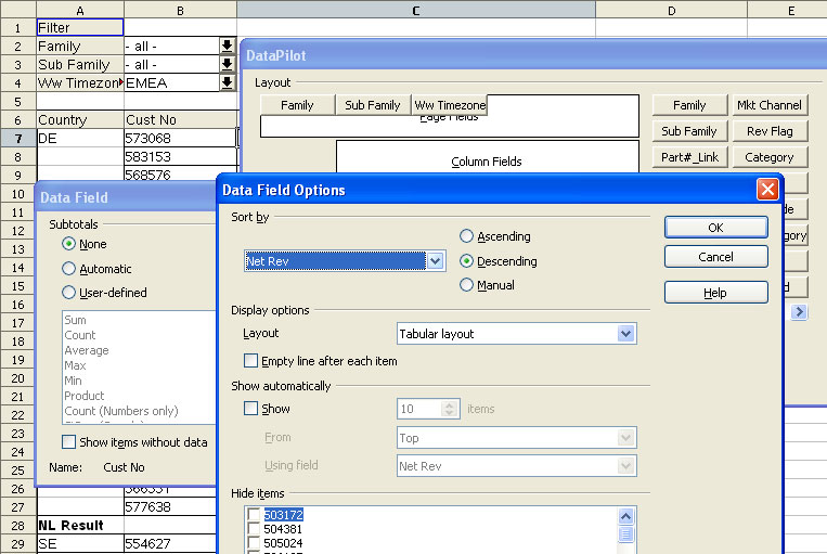 with the datapilot in openofficeorg 20 similar to microsoft excels pivottable feature it is now possible to create new groups filter data based on