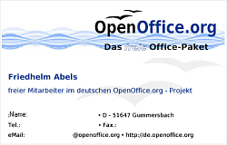 Openoffice business cards german openoffice project volunteer business card author friedhelm abels license pdl download openoffice writer sxw format fbccfo