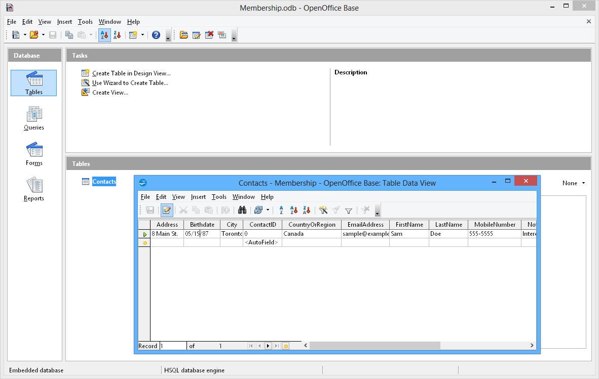 Apache OpenOffice Base - Open office invoice database
