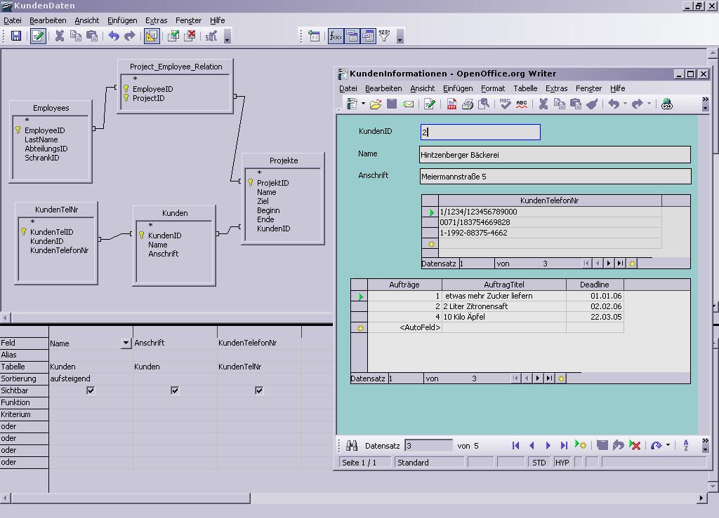 Screenshots: OpenOffice org 2 0 Beta - Base